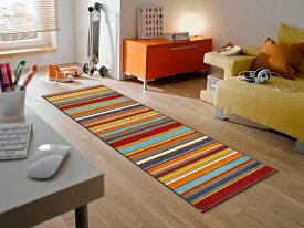キッチンマット Stripes burnt orange 60x180cm (屋外・屋内兼用)