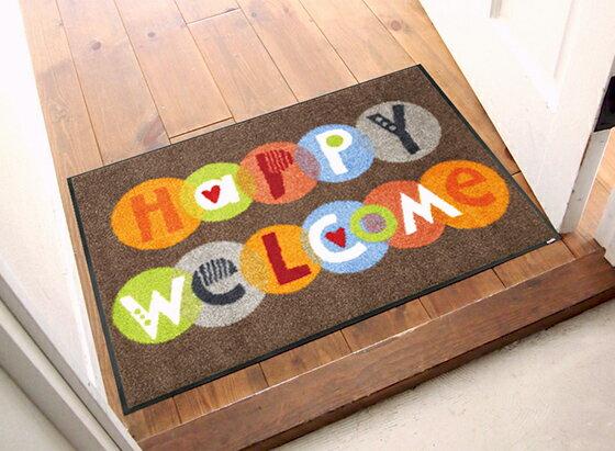 玄関マット Happy Welcome 50x75cm (屋外・屋内兼用)