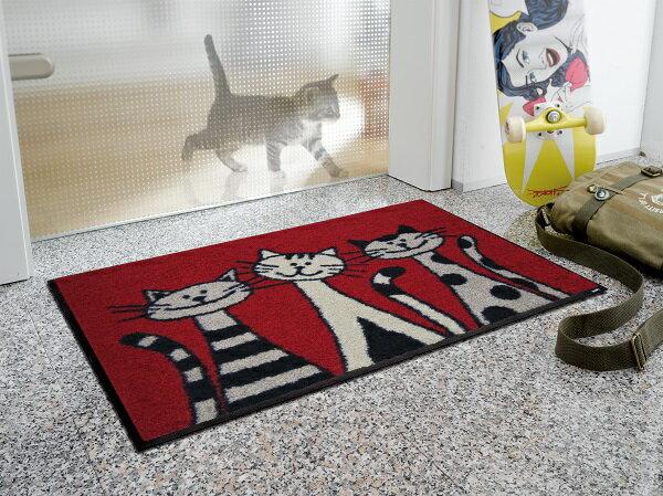 玄関マット Three Cats 50x75cm (屋外・屋内兼用)