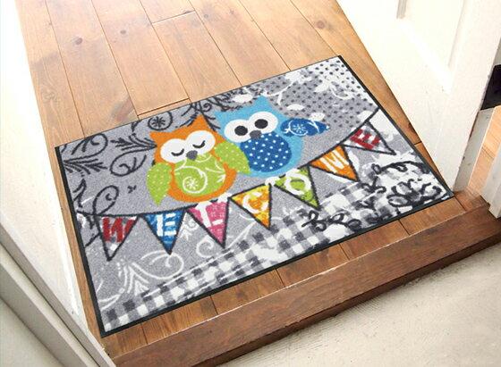 玄関マット Welcome Owls 50x75cm (屋外・屋内兼用)