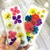 天然的花朵标本使用!手制的干花清除覆盖物茄克情况iPhoneX/8/8Plus/7/7Plus/6/6Plus/5