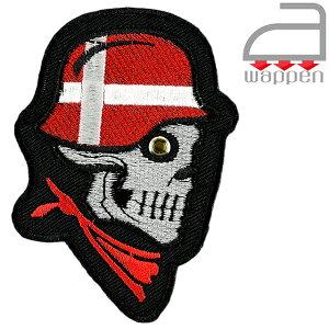 アイロンワッペン//スカル×デンマークアーミー 国旗カラーヘルメット (北欧 Denmark)