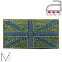アイロンワッペン//ユニオンジャック カーキグリーン ミリタリー風 Mサイズ イギリス国旗 (LONDON 刺繍 mods モッズ 英国)