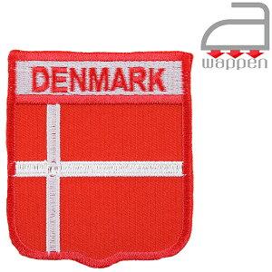 アイロンワッペン//デンマーク国旗 エンブレムタイプ DENMARK文字入り (コペンハーゲン 北欧)