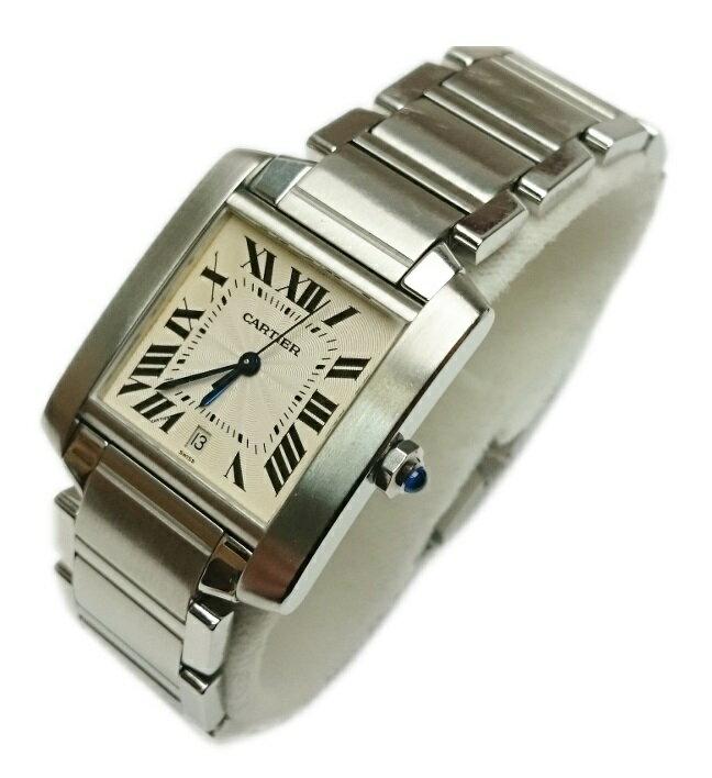 【正規OH済】カルティエ Cartier タンク フランセーズ LM 腕時計 メンズ オートマ 2302【質屋出店】【中古】