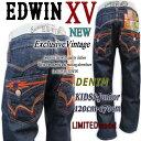 ★【期間限定Sale!!】【EDWINエドウィン KIDS&Junior】【愛されXV Vintageモデルよりネイティブ刺繍ポケットDesignカ…