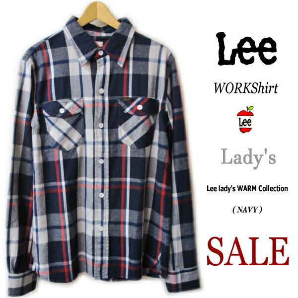 【ラスト1点40%SALE】【Lee リー】【レディース】【Lady's WORKShirt flannel定番ワークシャツ】【ソフトネル素材】【NAVY系チェック柄】【レディース】『しっかり丈夫な作りと丁寧な仕立てが魅力的 』●【定価7560円→SALE】