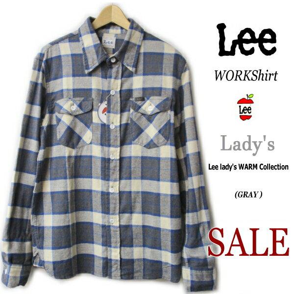 【ラスト1点40%SALE】【Lee リー】【レディース】【Lady's WORKShirt flannel定番ワークシャツ】【ソフトネル】【NGRAY系チェック柄】【レディース】『しっかり丈夫な作りと丁寧な仕立てが魅力的 』●【定価7560円→SALE】