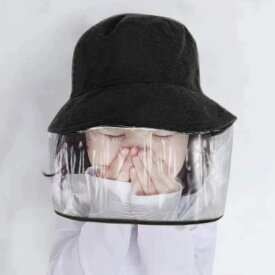 フェイスガード 帽子 ウイルス対策 透明マスク つば広 ハット 新型コロナウイルス 飛沫防止 顔面保護カバー ブラック 男女兼用 メール便送料無料(アパレル)