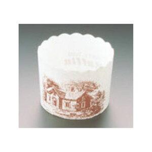 マフィンカップ ハウス柄(100枚入)白 M-405【業務用】【紙カップ】【ケーキカップ】