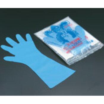 エンボス手袋 #50 ロング ブルー(五本絞り)50枚入 M 45μ【使い捨て手袋】【ビニール手袋】【ポリ手袋】