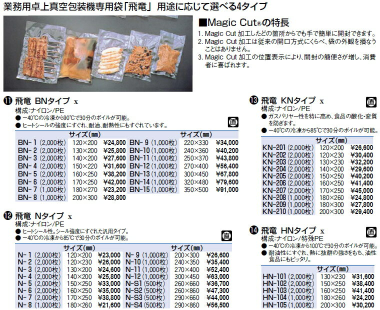 飛竜 HNタイプ HN-104 (1000枚)【真空包装器 真空パック用】【シーラー】【真空袋】【真空パック】【業務用厨房機器厨房用品専門店】