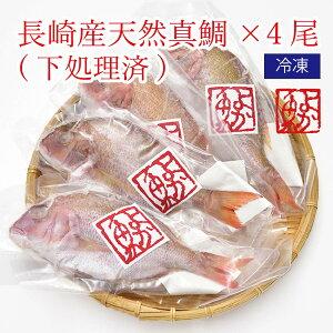 ご自宅用 煮付けに!焼き魚に!長崎産天然真鯛計4尾(下処理済み) [内食まとめ買い] よか魚丸得