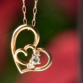 【クーポン配布中】天然アクアマリン&天然ダイヤモンドハートinハートネックレス【アクアマリン】【ネックレス】【ペンダント】【ハート】【ダイヤモンド】【3月誕生石】【3月】【誕生日プレゼント】