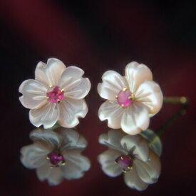 桜 ピアス さくら ピアス サクラ ピアス ピンクシェル&ルビーフラワーピアス ルビー ピアス 桜ピアス さくらピアス サクラピアス 花ピアス フラワーモチーフ 7月誕生石