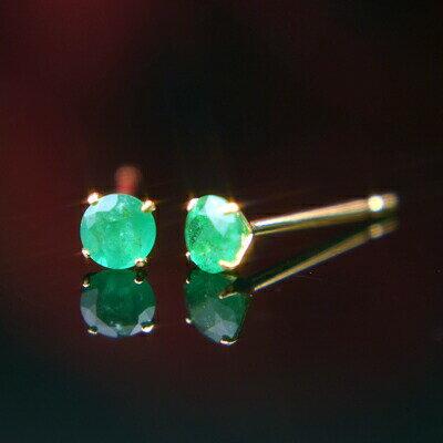 K18天然エメラルドピアス 3mm エメラルド ピアス K18 ピアス 18k ピアス 18金 5月誕生石