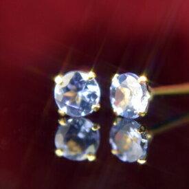 【クーポン配布中】K18天然タンザナイトピアス 3mm タンザナイト ピアス K18 ピアス 18k ピアス 18金 12月誕生石
