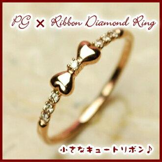 Rakuten ranking 1st place! PG pink natural diamond bow ring