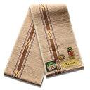 八重山ミンサー織り 送料無料 半幅帯 生成茶 細ドット状 伝産マーク 石垣島産本場手織り 生成り系 アイボリー 永遠の愛の証 み…
