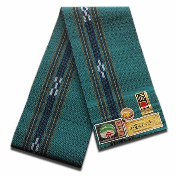 八重山ミンサー織り 送料無料 半幅帯 (絣が紺に戻りました)青緑系地紺絣 伝産マーク 石垣島産本場手織り 永遠の愛の証 みんさー織り