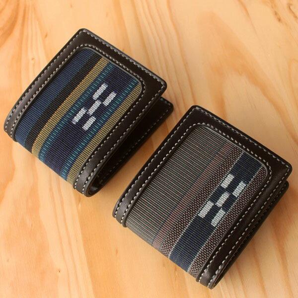 八重山ミンサー織り 送料無料 ハーフレザーウォレット ブルー系 メンズ 職人手作り二つ折り革財布 石垣島産本場手織り プレゼントに最適 送料無料 ブルー グレー ネイビー 青 灰 紺 遠の愛の証 みんさー織り