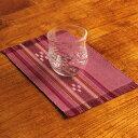 八重山ミンサー織り 新柄小マット(柄が少し変わりました)ランチョンマット ピンク系 石垣島産本場手織り レッド 赤 桃 臙脂 永…