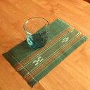 八重山ミンサー織り 新柄小マット(柄が少し変わりました)ランチョンマット グリーン系 石垣島産本場手織り 緑色 永遠の愛の証 み…