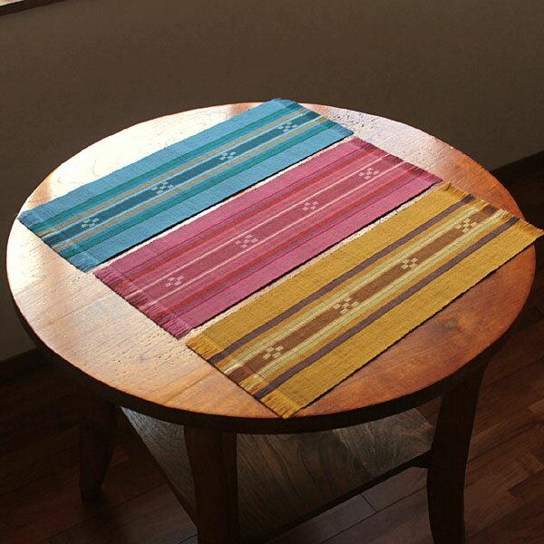 八重山ミンサー織り テーブルランナー テーブルセンター ブルー イエロー ピンク 石垣島産本場手織り 永遠の愛の証 みんさー織り