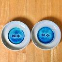 八重山ミンサー織り柄 ペア小皿セット 白地 アイボリー 呉須色 永遠の愛の証 みんさー模様 陶器 やちむん 焼物 焼き物 ミンサー柄