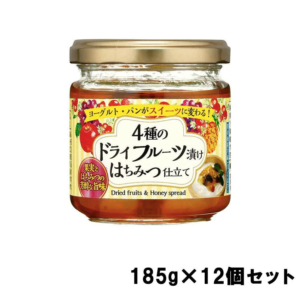 【代引き・同梱不可】加藤美蜂園本舗 4種のドライフルーツ漬け はちみつ仕立て 185g×12個セット【缶詰・瓶詰】
