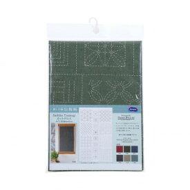 オリムパス 刺し子紬 第2弾 伝統柄 カット布 深緑 CT-C2004