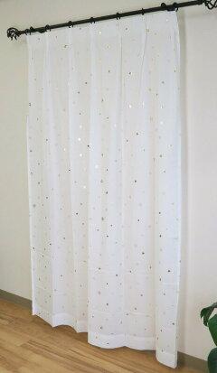 かわいい星柄ボイルレースカーテン03