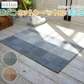 玄関マット ラグ 絨毯 デザインマット 洗える 国産 防ダニ すべり止め 床暖OK 約45×75cm チェック模様 コルネ colne カレマット (SUL)