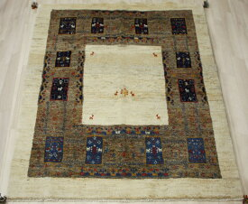 ギャベ ラグマット ウール100% イラン製 ギャッベ 世界に一枚だけ 約151×182cm ブラウン系 ペルシャギャベ BB18719 (Y)