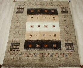 ギャベ ラグマット ウール100% イラン製 ギャッベ 世界に一枚だけ 約148×195cm ブラウン系 ペルシャギャベ BB24984 (Y)