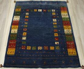 ギャベ ラグマット ウール100% イラン製 ギャッベ 世界に一枚だけ 約153×201cm ブルー ネイビー系 ペルシャギャベ BB28020 (Y)