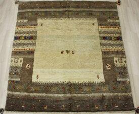 ギャベ ラグマット ウール100% イラン製 ギャッベ 世界に一枚だけ 約150×174cm ブラウン系 ペルシャギャベ BT1468 (Y)