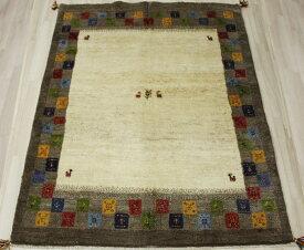 ギャベ ラグマット ウール100% イラン製 ギャッベ 世界に一枚だけ 約145×194cm ブラウン系 ペルシャギャベ BT2018 (Y)
