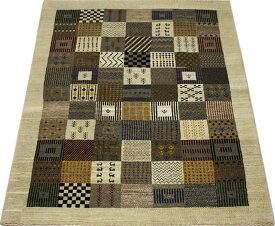 高級ペルシャギャベ ラグ カーペット ウール100% ギャッベ絨毯 天然草木染め 手織り RIZBAFT.B リーズバフト 約158×242cm PG11003 (Y) ブラウン系