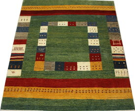 ペルシャギャベ ラグ カーペット ウール100% ギャッベ絨毯 天然草木染め 手織り GABBEH NOMAD ノマド 約198×281cm PG5660 (Y) グリーン系