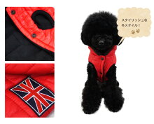 ユニオンジャックワッペン中綿キルティングベストジャケットアウタードッグウェア犬服小型犬用秋冬