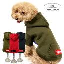 Supreme フロントボタン 裏起毛パーカー 秋冬 ドッグウェア 犬服 ペット用品