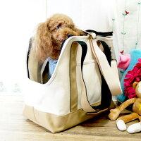 ボストントート帆布ペットキャリーバッグMサイズ犬用キャンバス軽量全2色