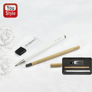 北星鉛筆 KITA-BOSHI PENCIL ノック式 シャープペン 大人の鉛筆 芯削り+ペンシル替え芯(5本入)セット 2mm ホワイト 北星LOGO+SY 木軸 OTP-680WHT-1z
