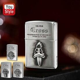 ジッポー ZIPPO ライター クロスメタル 純銀メタル貼り 全4色 エッチング加工 SILVER CROSS オイルライター 喫煙具