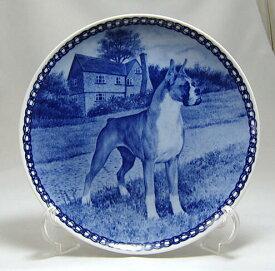 【送料無料】犬の絵皿・ボクサー・#7396 (ドッグプレート)