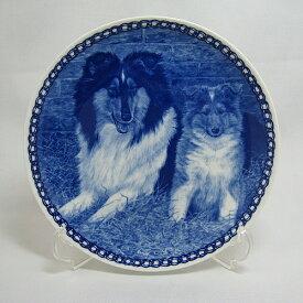 【送料無料】犬の絵皿・コリーの親子・#3019 (ドッグプレート)