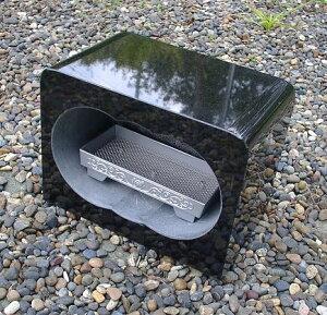 【お墓・墓石・香炉】 黒御影石香炉・香皿付【送料無料】