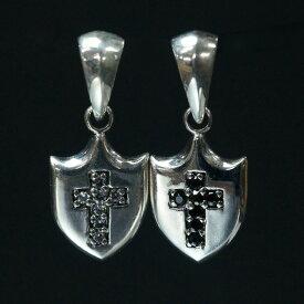 シルバー925 盾 十字架 クロス ペンダントヘッド silver925 シルバーアクセサリー シルバー製 スワロフスキー メンズ