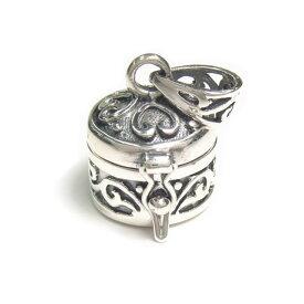 シルバー925 蔦 ハート 模様 可愛らしい 小さな円形 宝石箱 ペンダントトップ silver925 シルバーアクセサリー 宝箱 シルバー製 ペンダントヘッド レディース